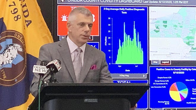 Oneida County Executive Anthony Picente Jr. speaks Wednesday during a coronavirus briefing. Picente touched briefly on county finances during the briefing, speaking about sales tax and gaming revenue.