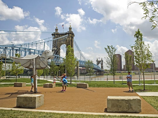 A view of Smale Park overlooking the Ohio River. About