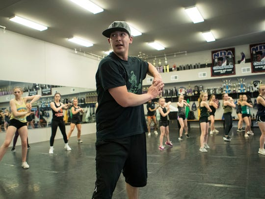 Jordan Boyd teaches a dance routine to his students at Champion Legacy Dance Academy in Sioux Falls, S.D. on Tuesday, May 15, 2018.
