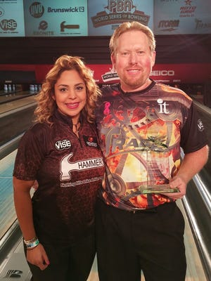 Mitch Beasley, left with his wife Inngellimar Beasley, who is also a professional bowler from Venezuela.