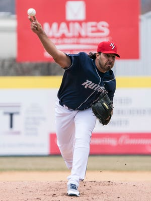 Apr 8, 2018; Binghamton, NY, USA; Binghamton Rumble Ponies pitcher Nabil Crismatt (10) throws the ball during the first inning of the game against the Portland Sea Dogs at NYSEG Stadium. Mandatory Credit: Gregory J. Fisher-USA TODAY Sports