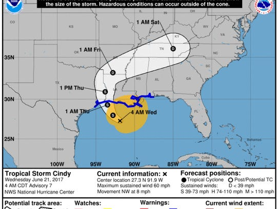 Image of Tropical Storm Cindy's probable path as of