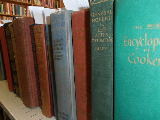 A sample shelf of books in the vintage sale in the back room at the Friends' Book Depot.