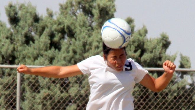 Lady Cat defender Mariah Trujillo is usually around the ball during Deming High Lady Wildcat soccer matches. Trujillo and her Lady Cat teammates opened District 3-5A  soccer play on Tuesday, Oct. 4, 2016, at Santa Teresa. DHS girls will look to turn around a 1-9 non-district portion of the season. In the team's last four matches they have lost by a total of six goals. The Lady Cats will be on the home field at 2 p.m. on Saturday, Oct. 8, 2016 against the visiting Chaparral High Lady Lobos at the Deming Soccer League fields.