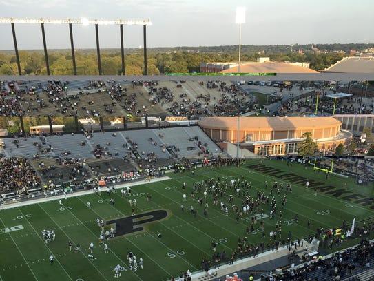 The scene inside Ross-Ade Stadium at 7:30 p.m.
