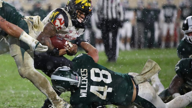 Kenny Willekes (48) had three of Michigan State's eight tackles for loss in Saturday's win over Maryland.