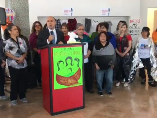 Rep. Jimmy Panetta and other local leaders speak Friday in Salinas against the Trump administration's border policies.