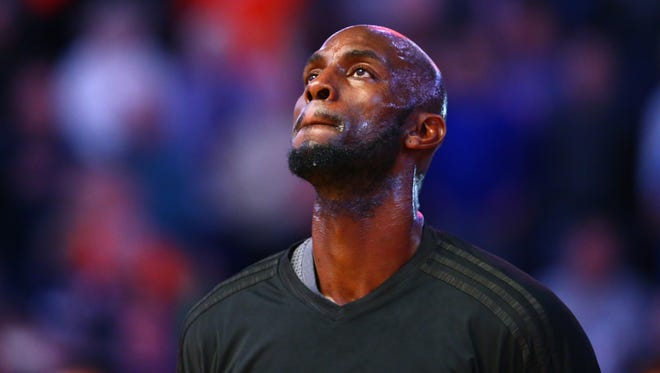 Kevin Garnett looks on prior to a game against the Phoenix Suns.
