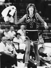 August 20, 1987 Anne Donovan cheering her team on  at the Pan Am Games in Indianapolis playing Cuba. The U.S. beat Cuba 85-80.