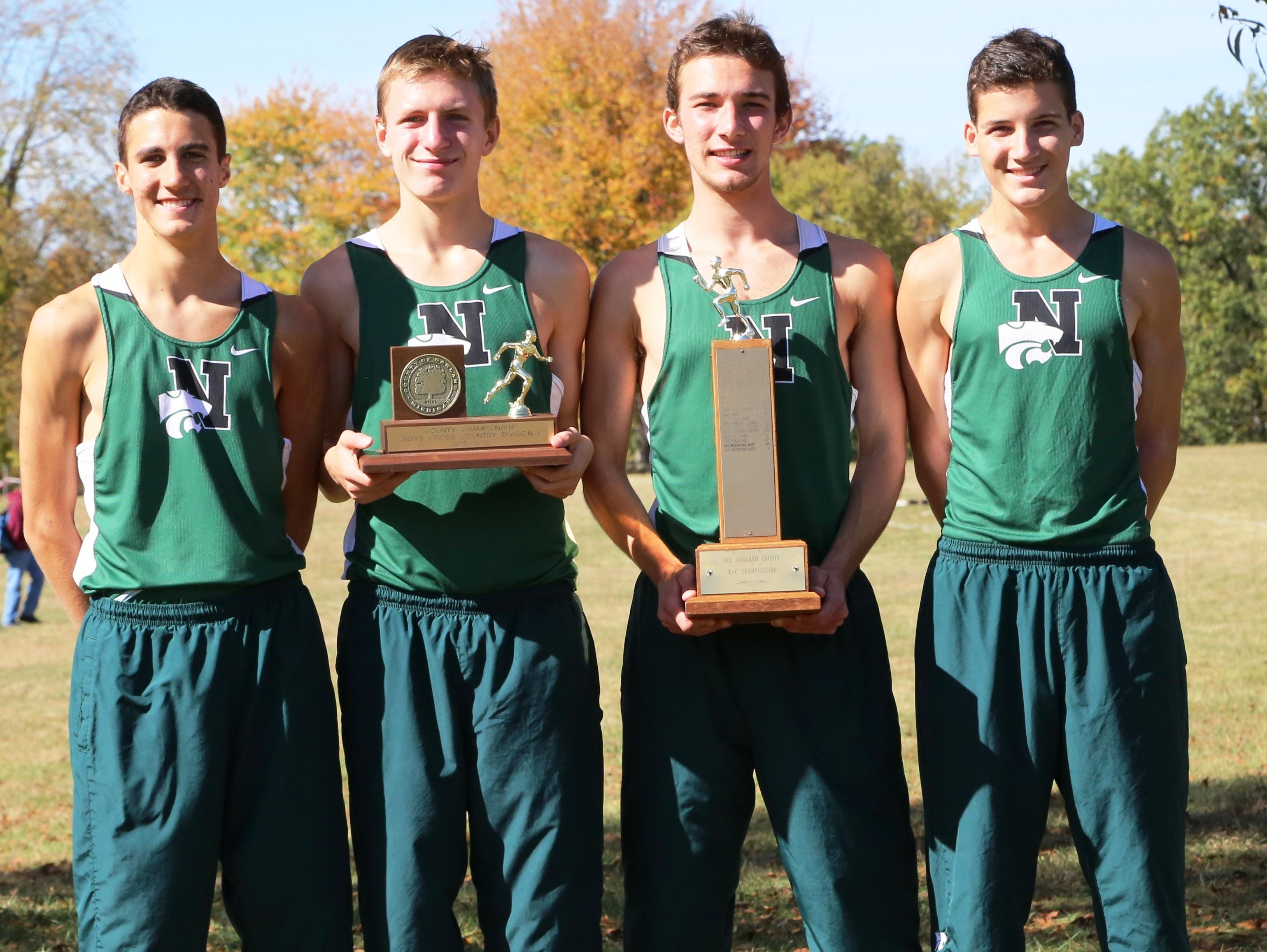 Novi's All-County runners included (from left) Scott MacPherson, Gabe Mudel, Joost Plaetinck and John Landy.