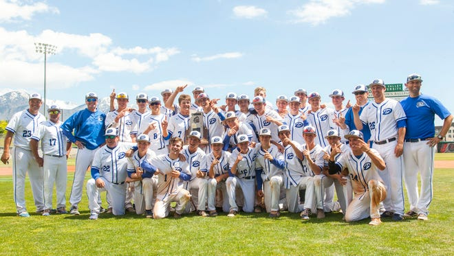 Dixie poses for a photo after winning the 3A state championship in Orem, Saturday, May 20, 2017.
