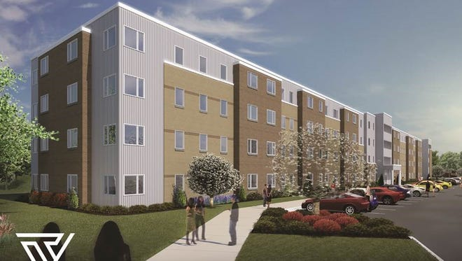 A rendering of Tech Village, a student housing development two blocks from Fox Valley Technical College.