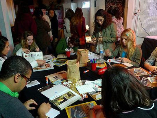 A zine workshop, hosted by artist in residence Rhea