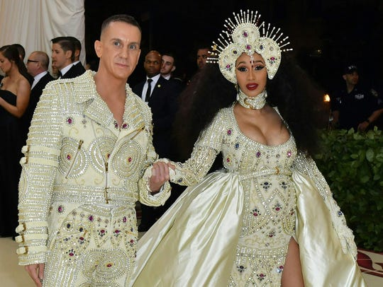 Cardi B and Jeremy Scott arrive for the 2018 Met Gala