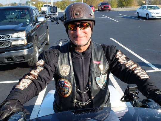 Joe Ball, with a GoPro camera on his helmet, ready