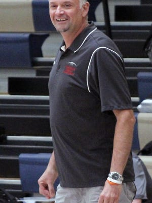 Coach Shaune Lewis smiles as he watches the Kewanee High School boys basketball team during summer league scrimmages at Spoon River College in Canton on June 28, 2019. Lewis, 47, died Thursday, July 2.