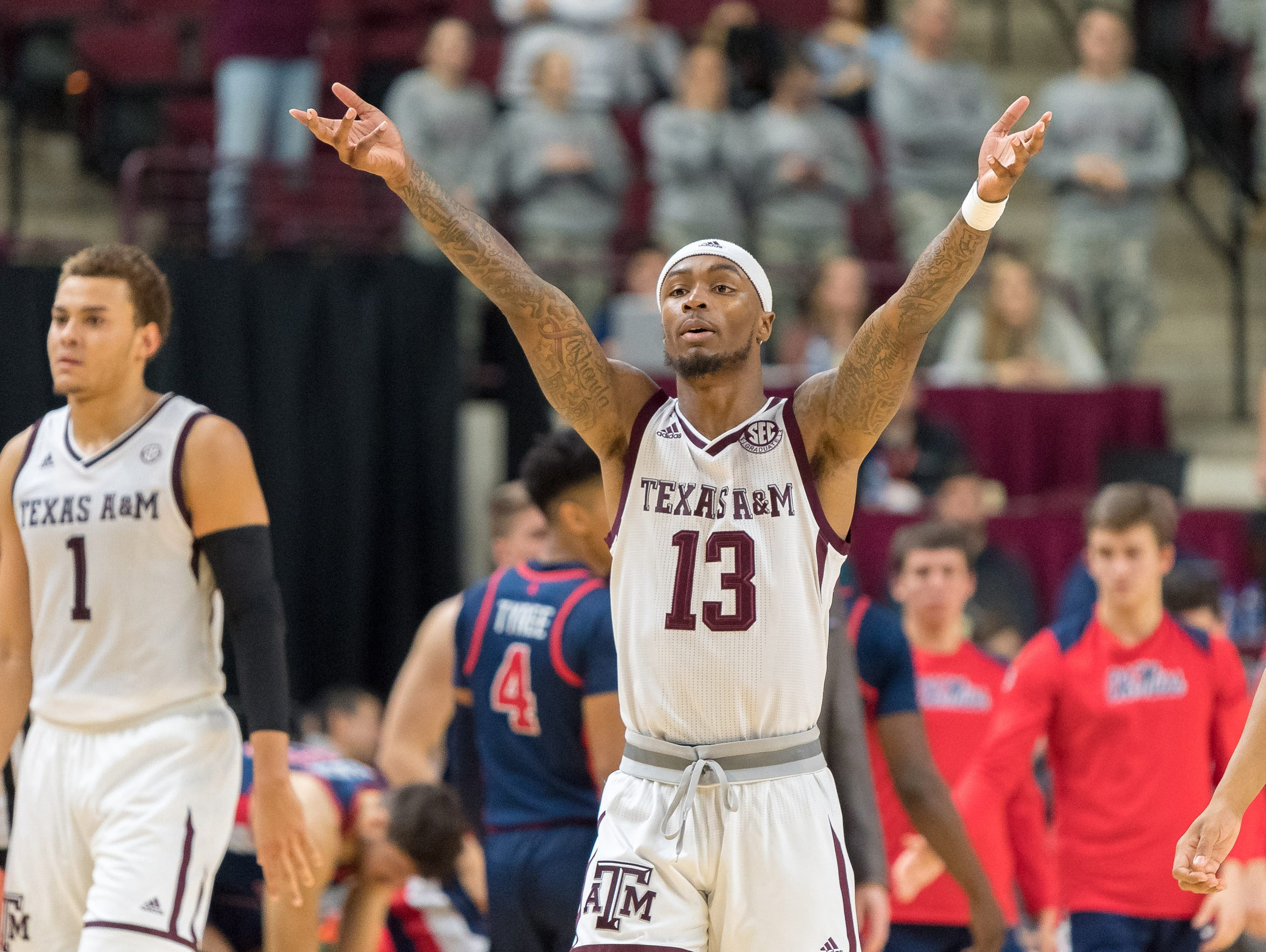 Texas A&M Aggies guard Duane Wilson (13) reacts in the second half against the Mississippi Rebels at Reed Arena on Jan. 16, 2018, in College Station.