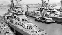 At the Mare Island Navy Yard after her final overhaul,