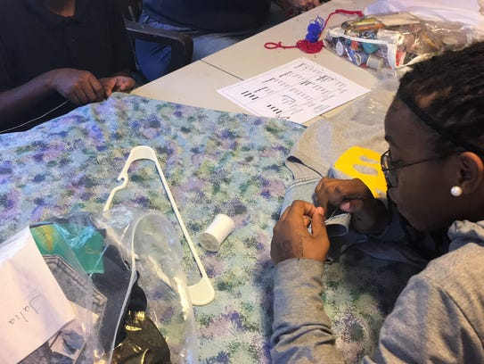 Students learn to sew at Renzi Center.