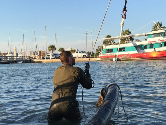 Taylor Hecht, a salvage diver for the Columbus Sailing