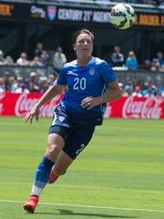 USA forward Abby Wambach controls the ball against Ireland during the first half at Avaya Stadium.