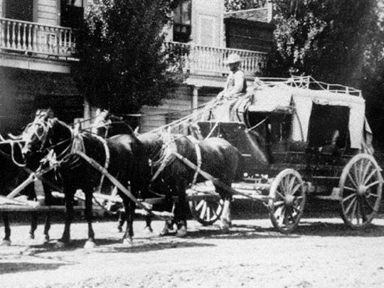 A stagecoach, similar to the one held up during the last stagecoach robbery in Jarbidge.