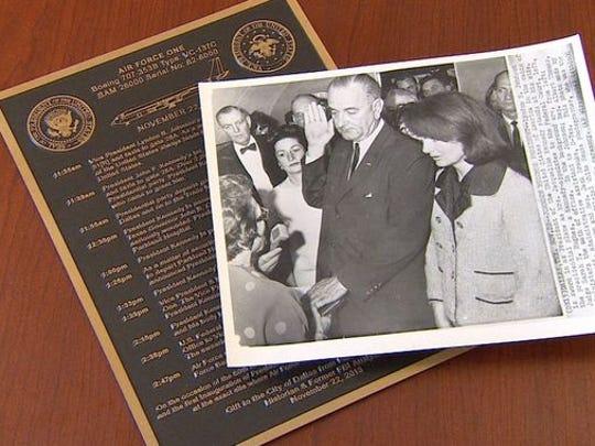 A plaque in the tarmac at Dallas Love Field will commemorate the precise spot where Lyndon Johnson was sworn in as president on November 22, 1963.