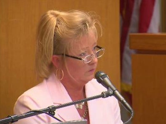 Williamson County District Attorney Jana Duty at a hearing at the Williamson County Courthouse.