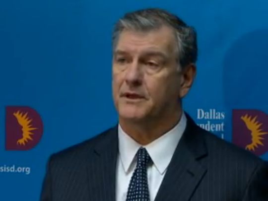 Mayor Mike Rawlings speaks about threats made toward two Dallas ISD schools.
