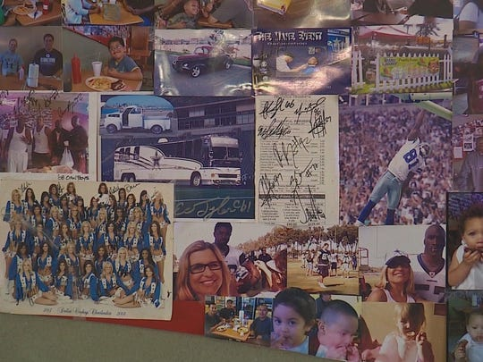 Pictures of Cowboys on the wall at CJ's BBQ in Oxnard, Calif.