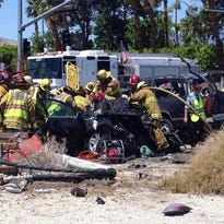 Three people suffered life-threatening injuries in a multi-car crash at Indian Canyon Drive and Racquet Club Road in Palm Springs on Thursday.