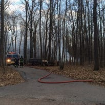A garage was destroyed in a fire Friday in the town of Mosinee.