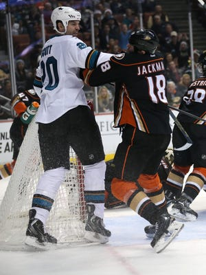 San Jose's John Scott delivered this punch to an unsuspecting Tim Jackman on Dec. 22.