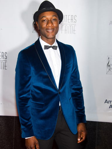 A dapper Aloe Blacc arrives to perform at the Songwriters Hall of Fame ceremony on June 12 in New York.
