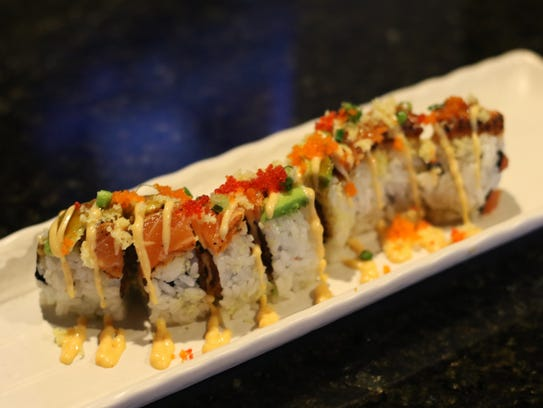 The Double Dragons roll at Tiga Sushi is made with