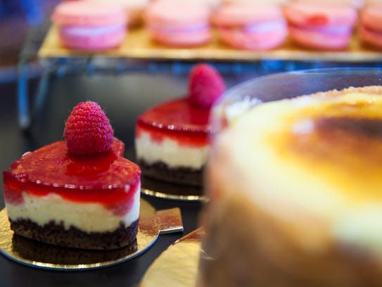 Mirabelles cheesecake with hibiscus-raspberry jelly.
