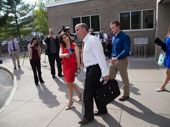 Cal Harris leaves Schoharie County Court after Judge