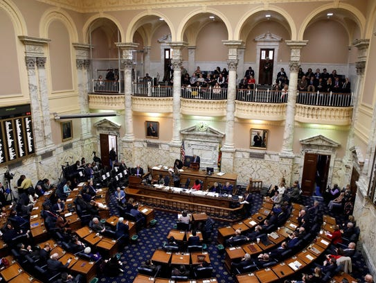 Members of Maryland's House of Delegates meet in the