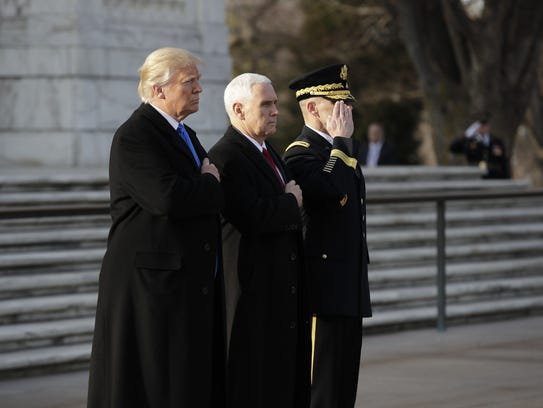 President-elect Donald Trump, accompanied by Vice President-elect