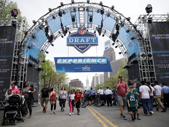 Fans arrive ahead of the 2017 NFL football draft in
