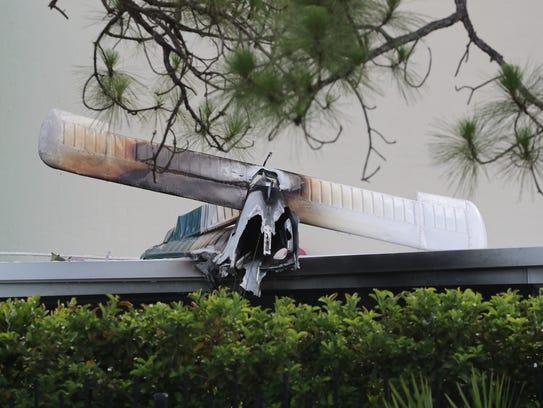 Scene from a plane crash Saturday, June 24, 2017, in