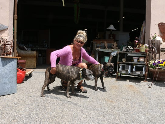Carolyn Curtin and her two pitbulls outside her warehouse