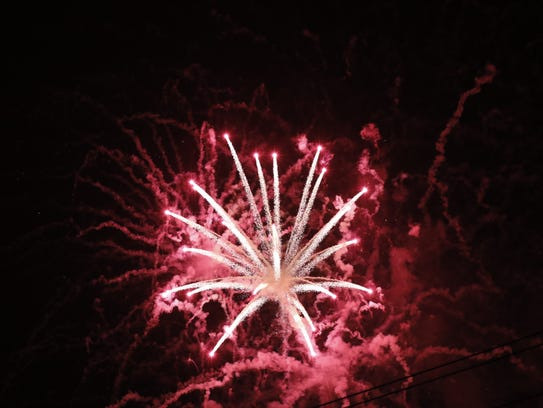 Fireworks burst over the sky during Smyrna's annual