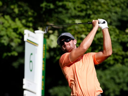 Patrick Rodgers tees off on the 6th hole during the