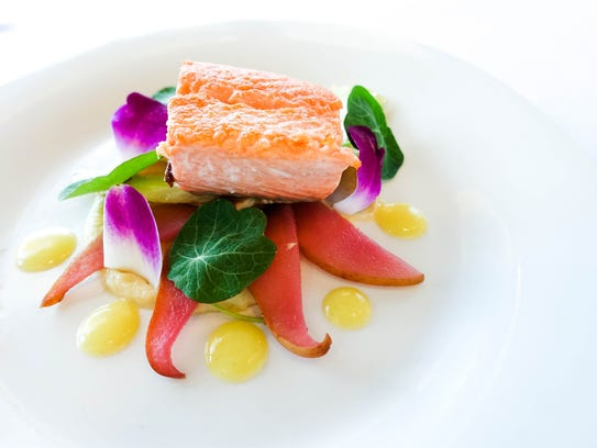 Ora King salmon is featured in a dish by Gwithyen Thomas