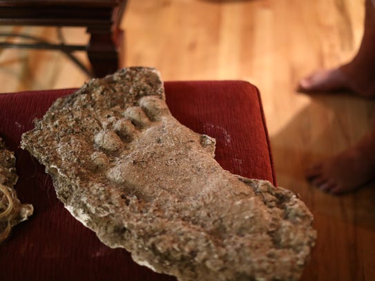 A mold of a footprint, Stacy Brown Jr. says was found
