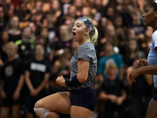 Maclay's Addyson Lewis celebrates a point with her