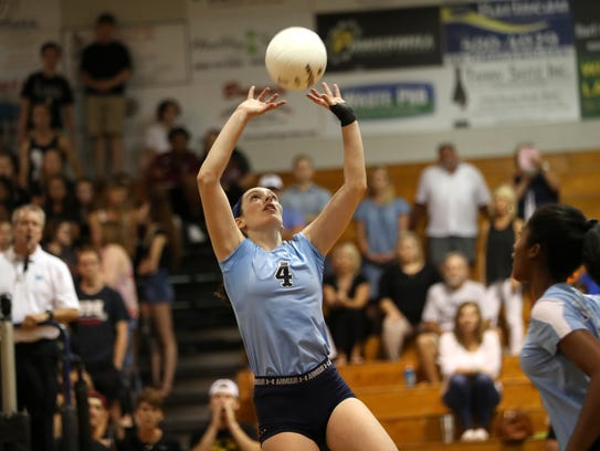 Maclay's Siena Kole sets the ball against Chiles at
