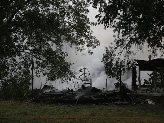 A fire destroyed a house Tuesday at 470 Pleasant Valley