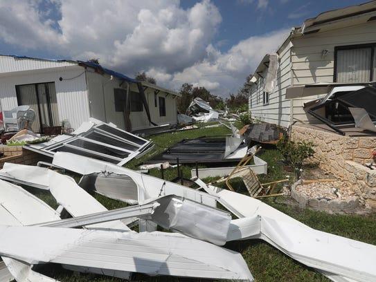 Oak Park, a mobile home park in Alva, Florida got hit